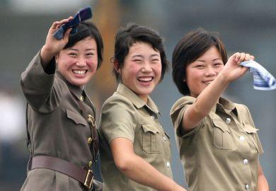 Female North Korean soldiers, Yalu River, 2010