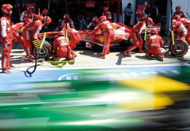 Fernando Alonso makes pit stop, Formula One Grand Prix, Silverstone, 2013