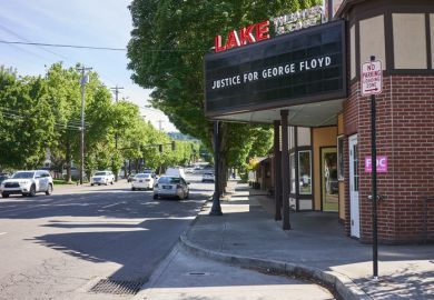 The cinema billboard of a local theater in Lake Oswego, Oregon, has been changed to support the nationwide protest demanding justice for George Floyd.