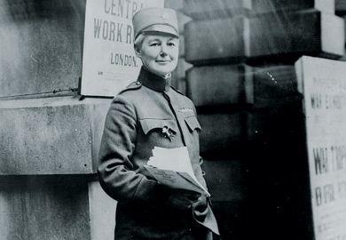 Flora Sandes standing in uniform