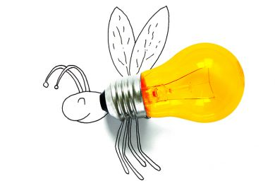 Sketch of a fly with a light bulb for its body, illustrating academic gadflies