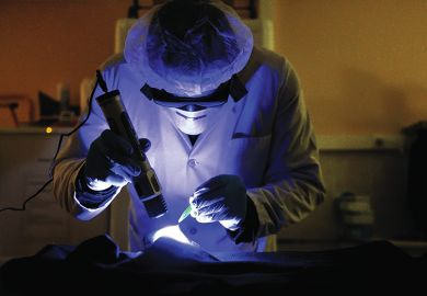 A member of the forensic section of the French gendarmerie (Cellule d'Identification Criminelle, CIC) uses a UV lamp
