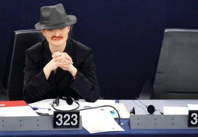 Franziska Brantner disguised as man, European Parliament, Strasbourg