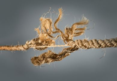 Frayed rope near to break