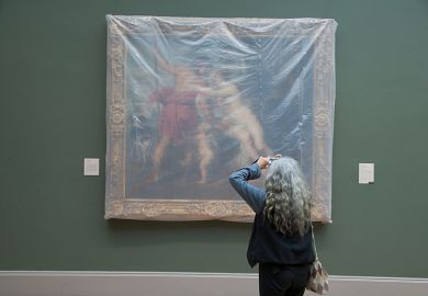 Rubens painting covered in plastic