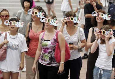 People wearing Google glasses