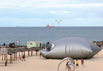 Giant goonbag on beach