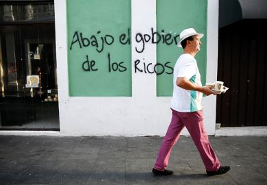 Graffiti in Puerto Rico read 'Down with the government of the rich'