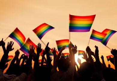 Group of people waving Gay Pride symbol flags