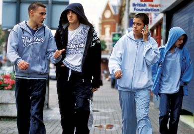 Group of teenage boys walking together in England