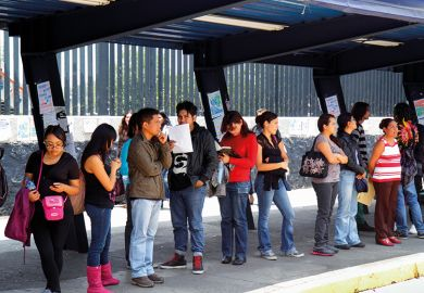Mexicans queuing