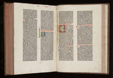 A copy of the Gutenberg Bible on display at the Cambridge University Library