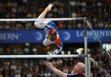 Gymnastics. Gabrielle Jupp falls during the Womens Uneven Bars competition