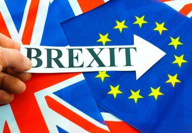 Hand holding Brexit sign, EU referendum