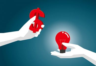Hands holding dollar sign and lightbulb (illustration)
