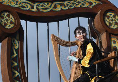Irish harp player