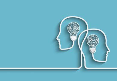 Heads and lightbulbs illustration