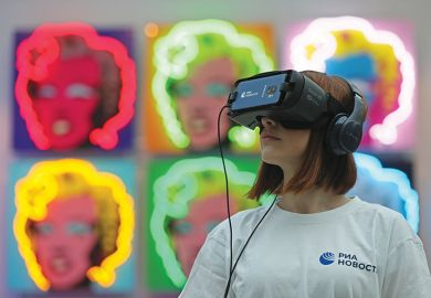A visitor to Art Russia uses a VR headset near Olga Rozanova's 'Admiration'