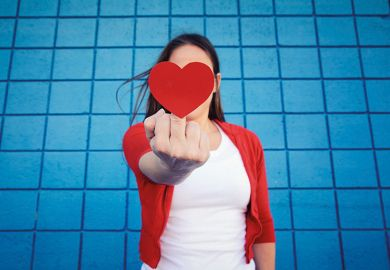 Heart symbol and rude gesture