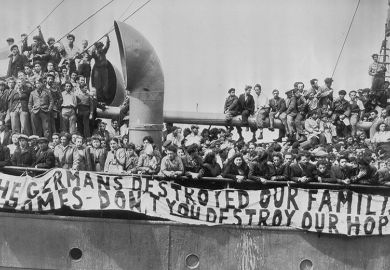 Jewish refugees aboard the Theodor Herzl protesting against their deportation to Cyprus