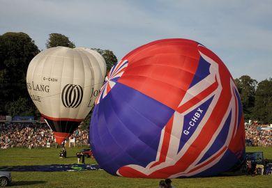 deflating hot air balloon