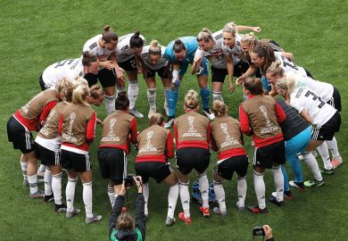 The German players form a team huddle prior to the 2019 FIFA Women's World Cup match between Germany and Spain, Valenciennes, France