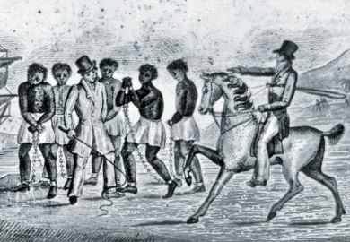 Illustration of African slaves in chains