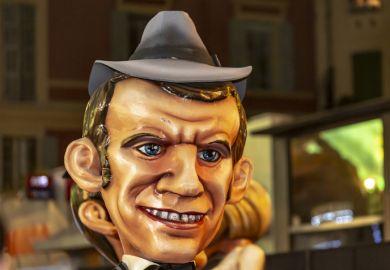 Image of a mascot of Emmanuel Macron at Nice Carnival 2019