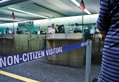 Immigration passport control queue for non US citizens