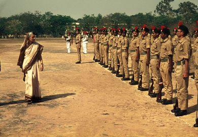 Prime Minister Indira Gandhi inspects the troops in Kolkata, India, in 1976