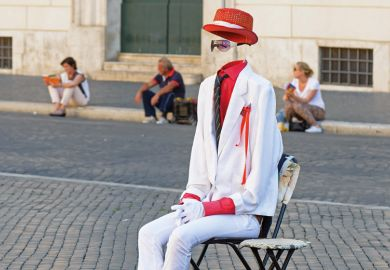 Invisible man sitting in chair, Piazza Navona, Rome, Italy