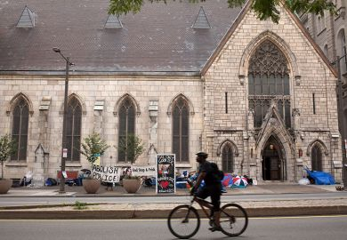Ice protest in front of a church in Philadelphia, US