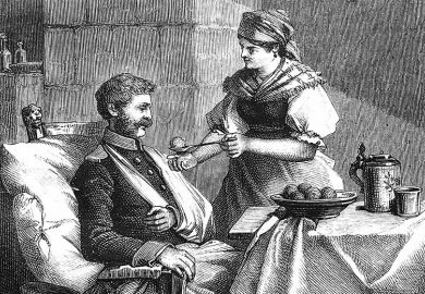 Woman feeding man with broken arm