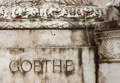 Goethe monument with flowers