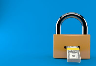 Dollars coming out of a padlock