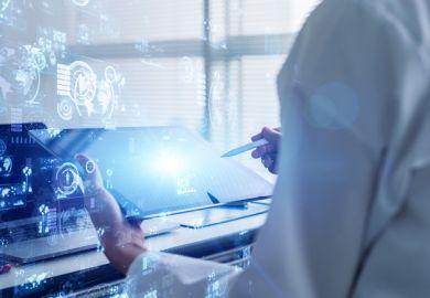 Scientist using digital technology