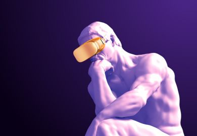 The thinker wearing a virtual reality headset. Do academics need to adopt new tech faster?