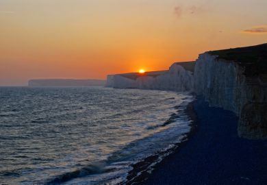 Sunset over cliffs