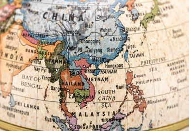A globe showing Asia