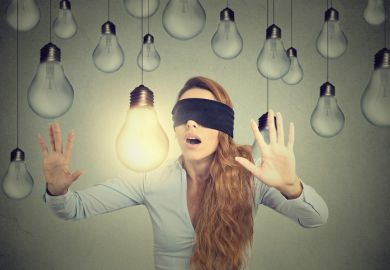 oblivious unaware blind bright ideas light bulbs blindfold