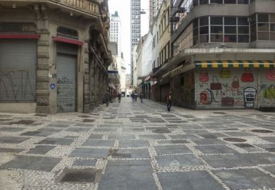 Sao Paulo street empty during coronavirus lockdown