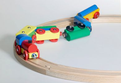 Wooden toy train crash