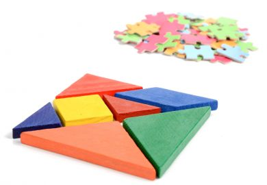 Tangram puzzle with seven pieces