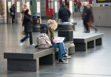 Female student at Antwerp station