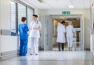Patients and medics in a hospital