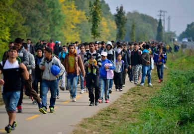 Refugees leaving Hungary in October 2015