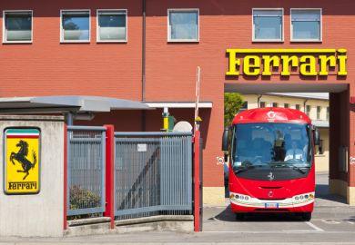 A bus at a Ferrari factory