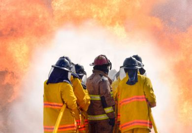 Firefighers work together