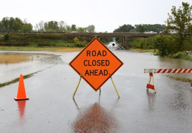 A road closed sign illustrating course closures