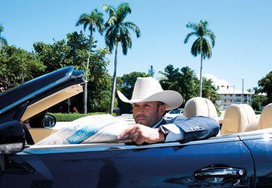 Jason Statham in car in Palm Beach